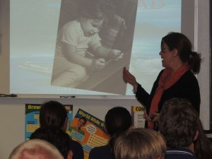 Mrs. Lantigua shares a photo of herself as an early writer.