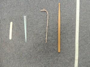 Popsicle stick, chopstick, tree stick?, drumstick, yardstick