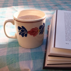A cup of tea, a summer morning, a long awaited book....life is good.